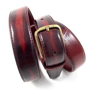VTG  80s red eelskin signed belt with brass buckle
